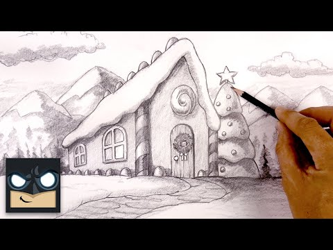 How To Draw Gingerbread House | Perspective Sketch Tutorial for Beginners thumbnail