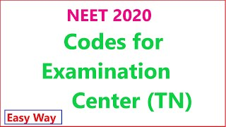 NEET Online Appliaction //Codes for Examination Centre - Tamilnadu 14 centres & their codes