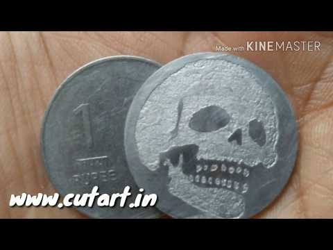 Cutart - etching a steel 1 rupees coin with clear tape stencil
