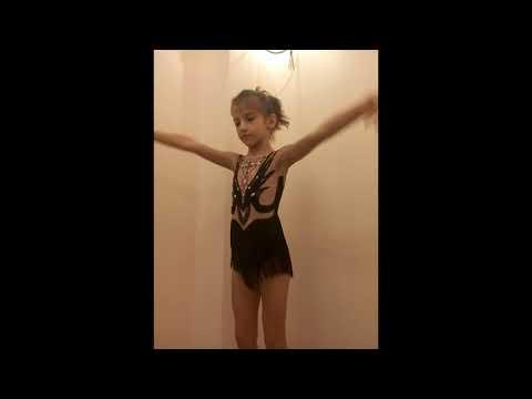 Купальник гимнастический с бахромой и стразами