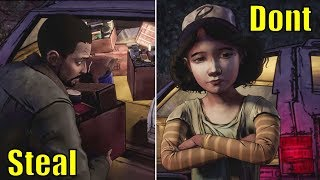 Lee Steals vs Don't Steal the Stranger's Car -All Choices- The Walking Dead