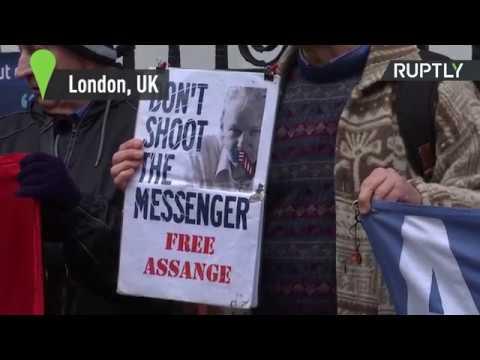 Julian Assange supporters gather outside Ecuadorian Embassy
