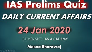 UPSC IAS  Daily current affairs quiz 24 Jan 2020