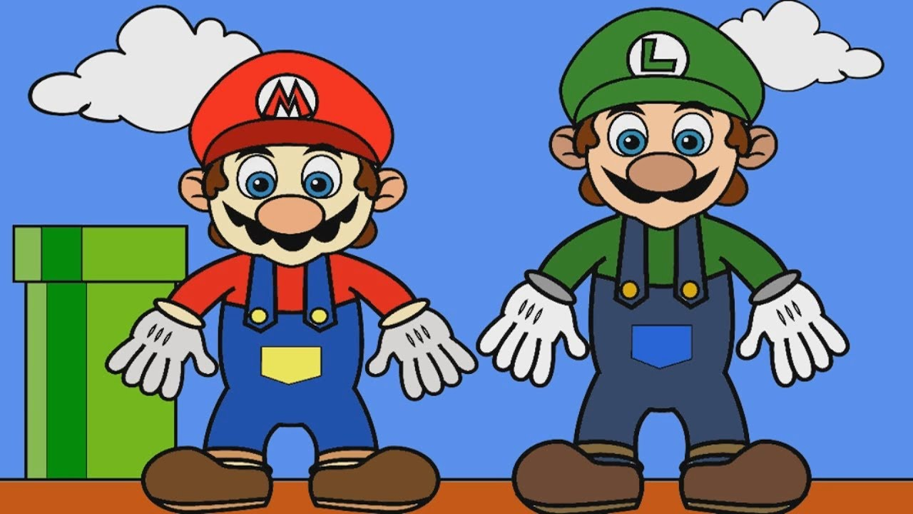 Coloring Mario and Luigi | Kids Coloring Pages - YouTube