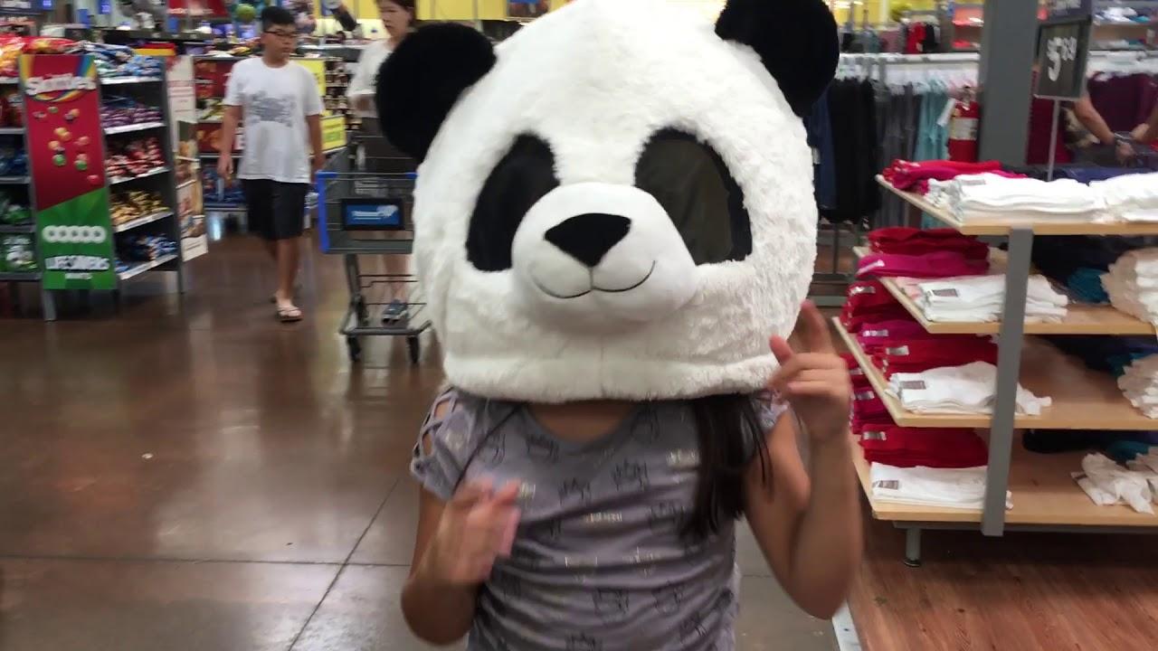 Tori with A panda head at Walmart lol