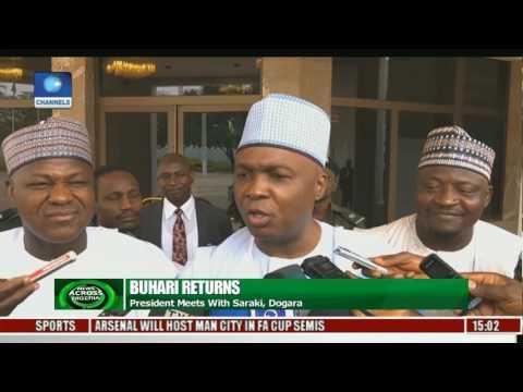 Buhari Returns: President Meets With Saraki, Dogara
