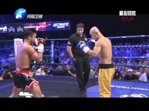 latest  Shaolin monk Yi Long fight : Sanda Vs Muay Thai