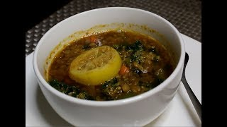 Simple Step by Step Vegan kale and Lentil Soup/Panera Bread Style