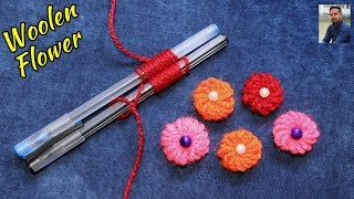 Easy Beautiful Flower Making Out Of Wool / Woolen Flower with the help of pen/Pencils