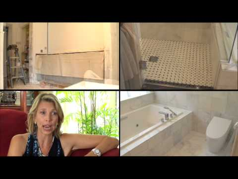 Clarissa Moore speaks about a bathroom renovation project by Mr. Handyman in her Westport home.