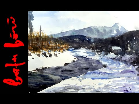 How to Paint Winter Scene – Watercolor Painting Demo (Long Version)