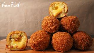Хрустящие картофельные шарики с сыром Закуска из картофельного пюре