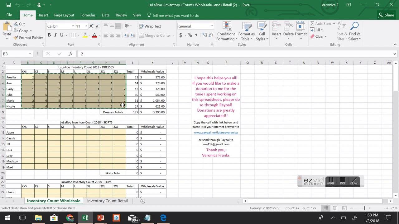 end of year lularoe inventory count microsoft excel spreadsheet