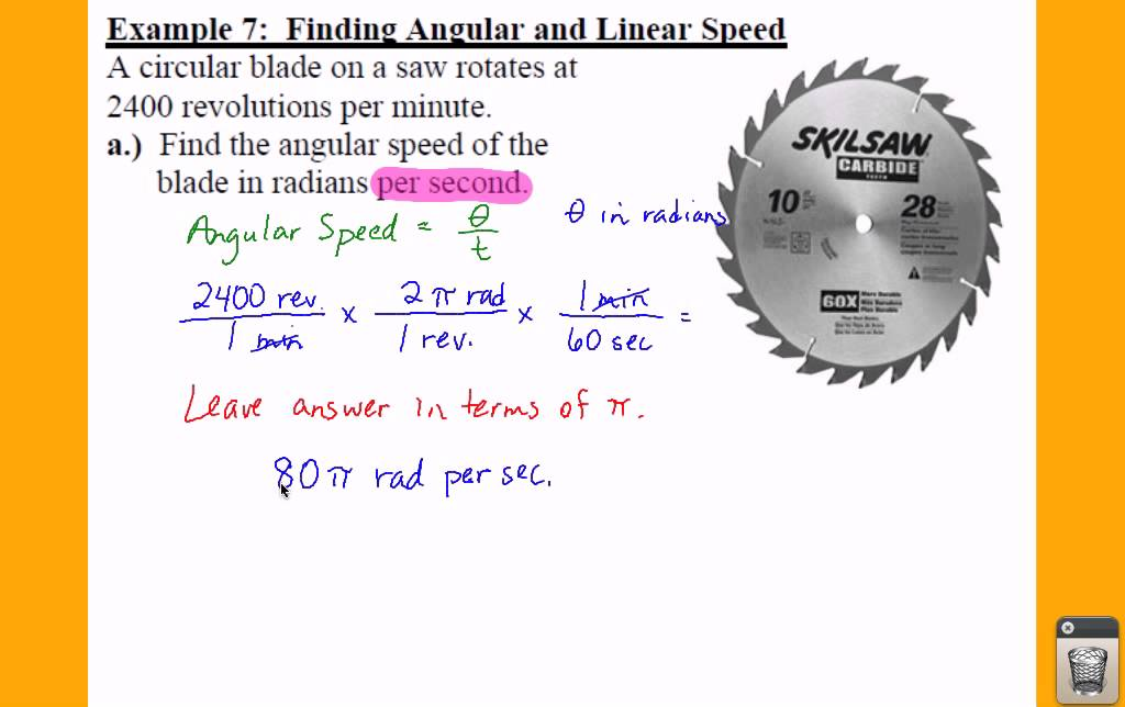 PC: 4.1 Notes: Example 7 - Finding Linear and Angular ...