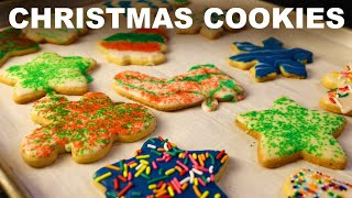 Christmas sugar cookies, roll-out dough with simple glaze icing