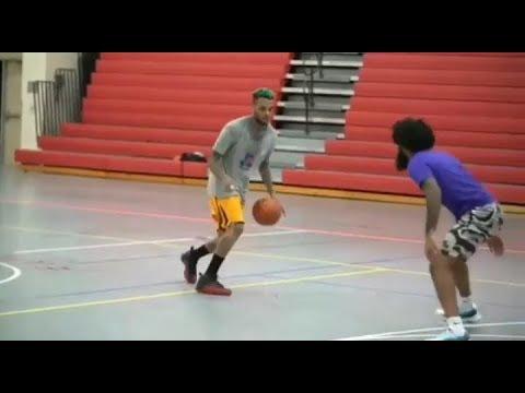 Chris Brown And Trey Songz Playing Basketball Game