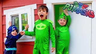 PJ Masks Night Ninja Tricks Gekko in Huge WOODEN Play House!
