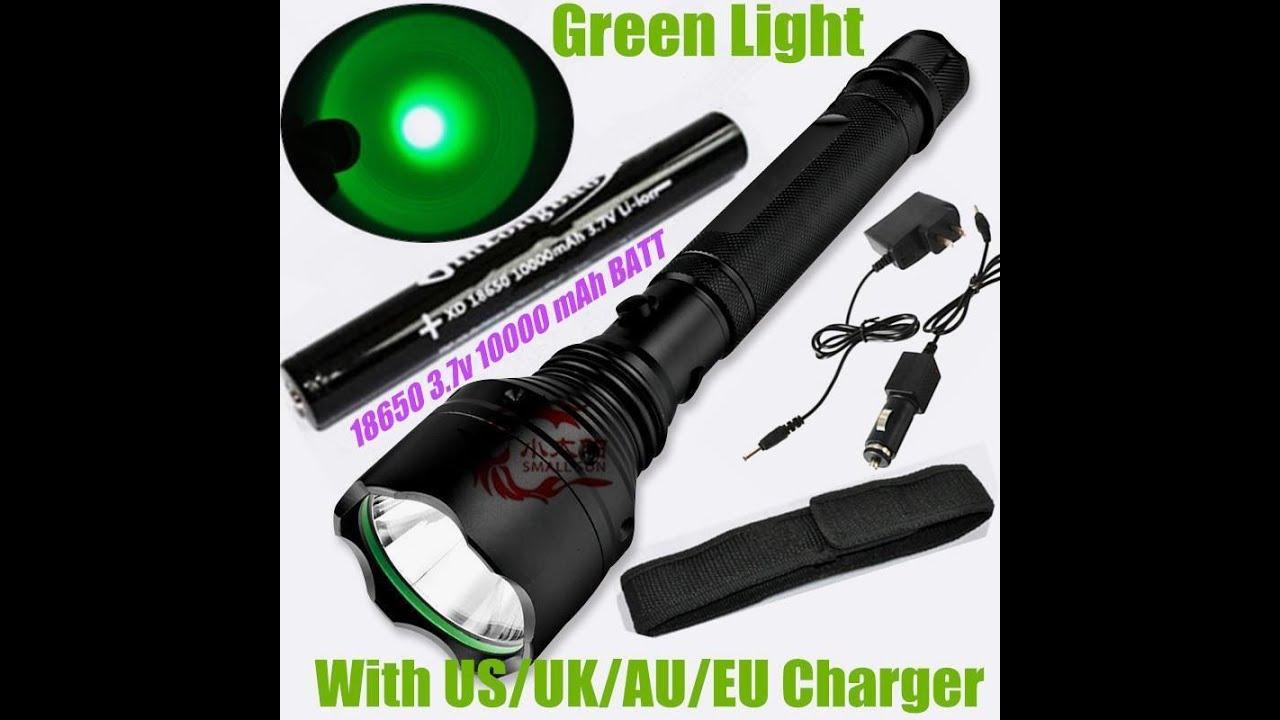 Green Light 2000 Lumen CREE XM L T6 LED Flashlight Torch +1x18650 Huntingt  Lamp   YouTube