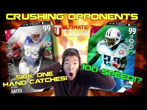 100 SPEED Chris Johnson!? One Hand Catch Machine Antonio Gates! Madden 16 Ultimate Team