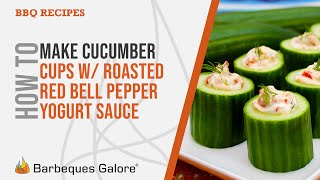 Cucumber Cups With A Roasted Red Bell Pepper Yogurt Sauce