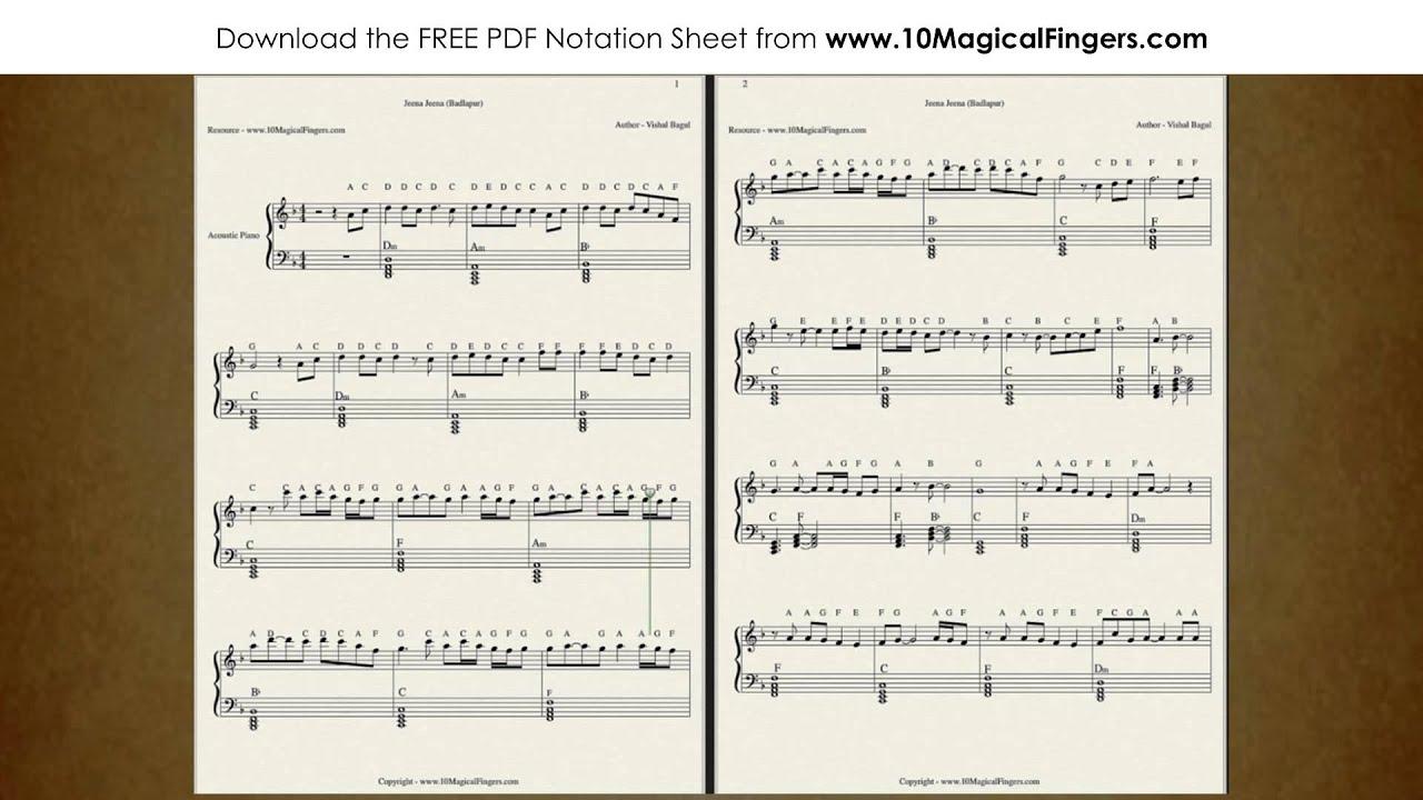 Jeena Jeena Piano Guitar Staff Notation Chords With Abcd