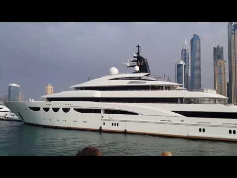 Large Royal Yachts at Dubai Marina 09.02.2017