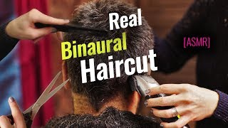 Real Binaural Haircut and Head Massage ASMR (4K)