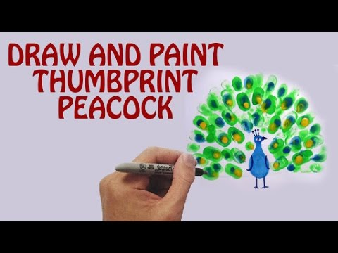 Learn How To Draw And Paint Thumbprint Peacock | Thumbprint Art | Peacock Drawing For Kids