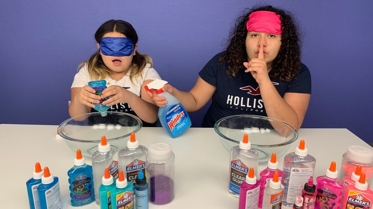 Slime Master Mary And Izzy: Mary CHEATED!!! Blindfolded Slime Challenge!