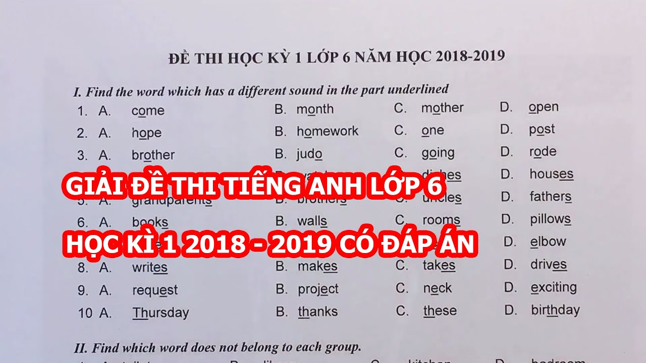 giải đề thi tiếng anh lớp 6 học kì 1 có đáp án 2018 2019 phần 1