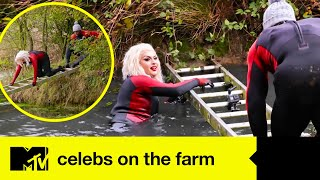 Cheryl Hole Gets Wet As She Channels Mission Impossible For Dirty Pond Task | Celebs On The Farm