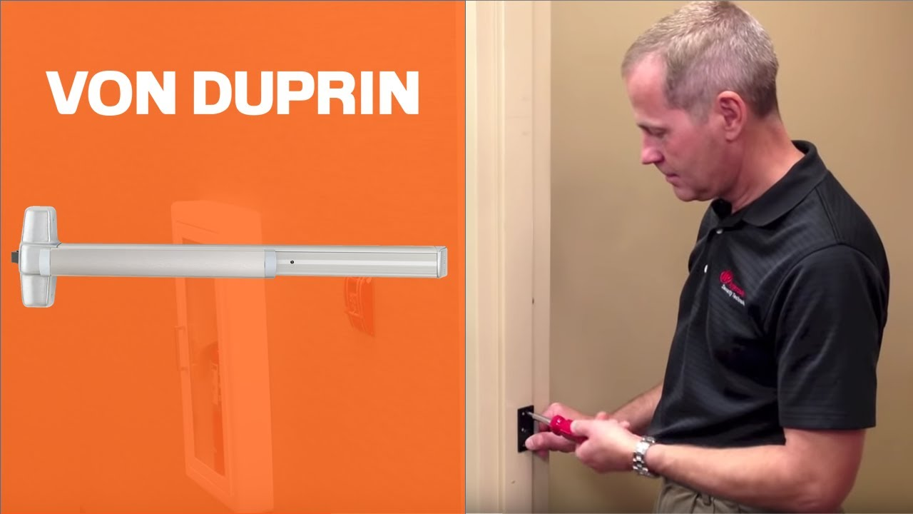 how to install von duprin 98 99 rim exit device youtube