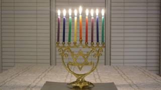 Menorah Burning Full - Eighth Night of Chanukah (Video is silent) A virtual Chanukiah menorah for your final night of Chanukah (or is it Hanukkah?) celebration! Enjoy the colorful burning candles for almost 90 ...