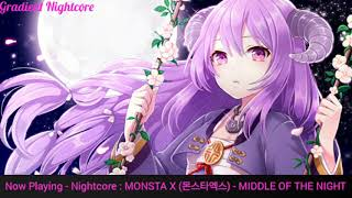 【Nightcore】→ MONSTA X (몬스타엑스) - MIDDLE OF THE NIGHT