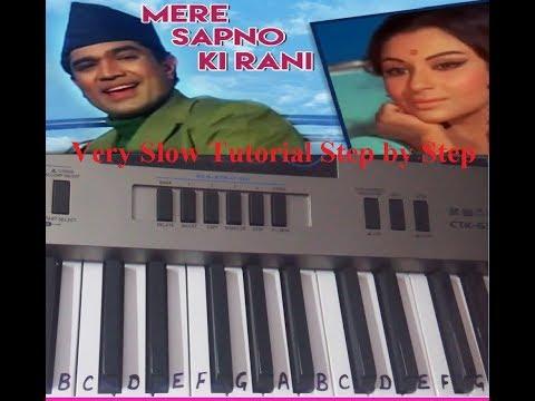 Mere Sapno ki Rani kab aayegi tu| Keyboard tutorial| piano|Harmonium|Slow Notes for beginners