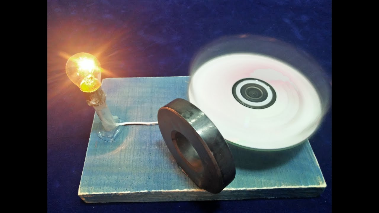 Make Free Energy Generator with Magnet Output 12 Volts Light