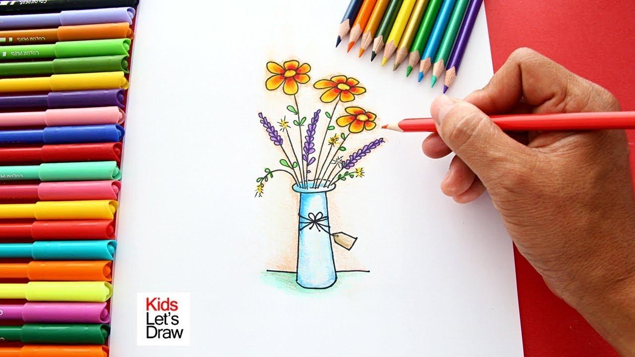 Cómo Dibujar Un Florero Con Flores How To Draw A Vase With Flowers