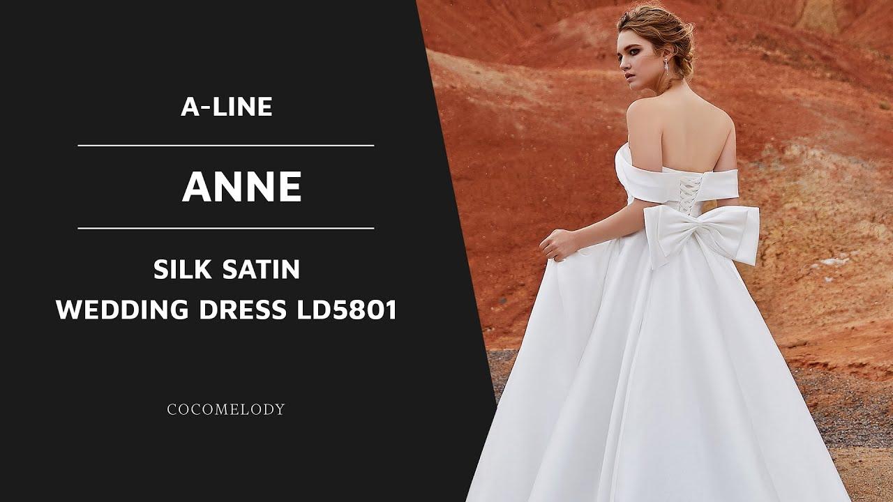 f10b9a7ba35 Dress ANNE | A-Line Court Train Silk satin Wedding Dress LD5801 | COCOMELODY