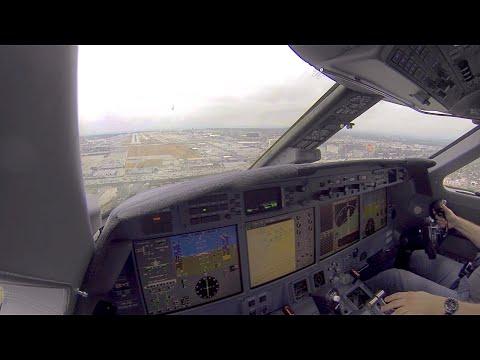 Landing at Los Angeles KLAX, Pilots View. Gulfstream G550