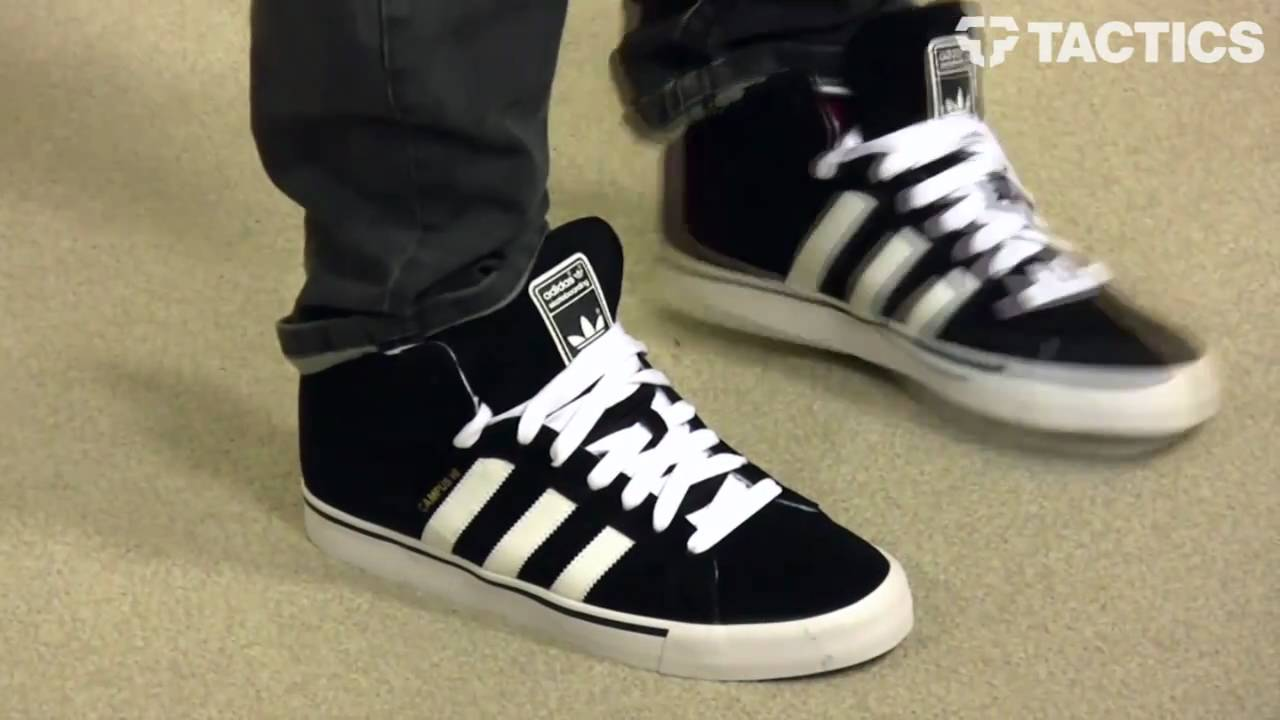 4a78acf9b1fb Adidas Campus Vulc Hi Skate Shoes review - Tactics.com - YouTube