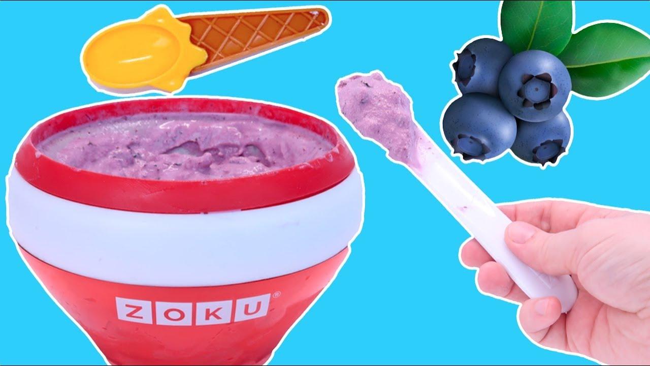 Мороженое с Черникой за 5 Минут в Чаше Zoku, Как Мама Готовила Домашнее Мороженое 108мама тв