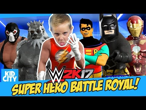 Thumbnail: Let's Play WWE 2K17! Super Heroes Battle Royal with LEGO BATMAN, Robin & Iron Man | KIDCITY