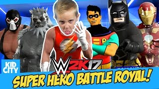 Let's Play WWE 2K17! Super Heroes Battle Royal with LEGO BATMAN, Robin & Iron Man | KIDCITY
