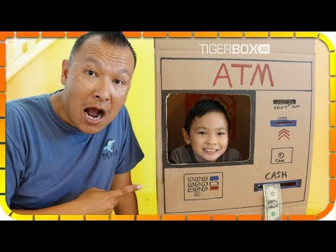 Tiger Pretend Play with ATM Machine Toy Box! Kid Learning How Money Work!