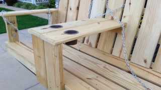 Porch Swing With Arm Rest Cup Holder Build.