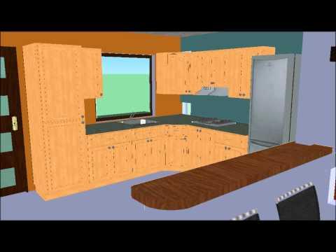 V12 dise ar una casa analizando la sala comedor y coc for Casa moderna minimalista 6 00 m x 12 50 m 220 m2