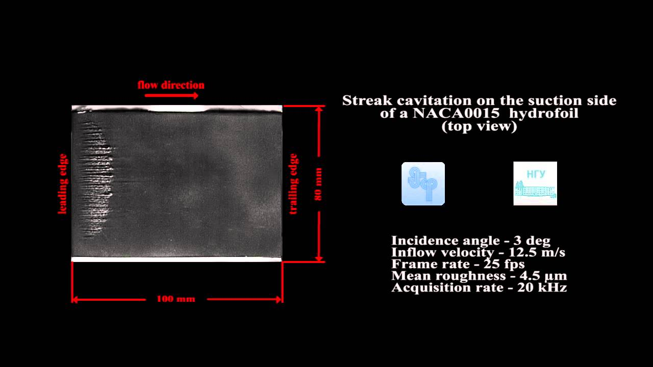 Streak cavitation on the suction side of a NACA0015  hydrofoil (top view)