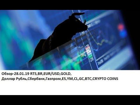 Обзор-28.01.19 RTS,BR,EUR/USD,GOLD, Доллар Рубль,Сбербанк,Газпром,ES,YM,CL,GC,BTC,CRYPTO COINS