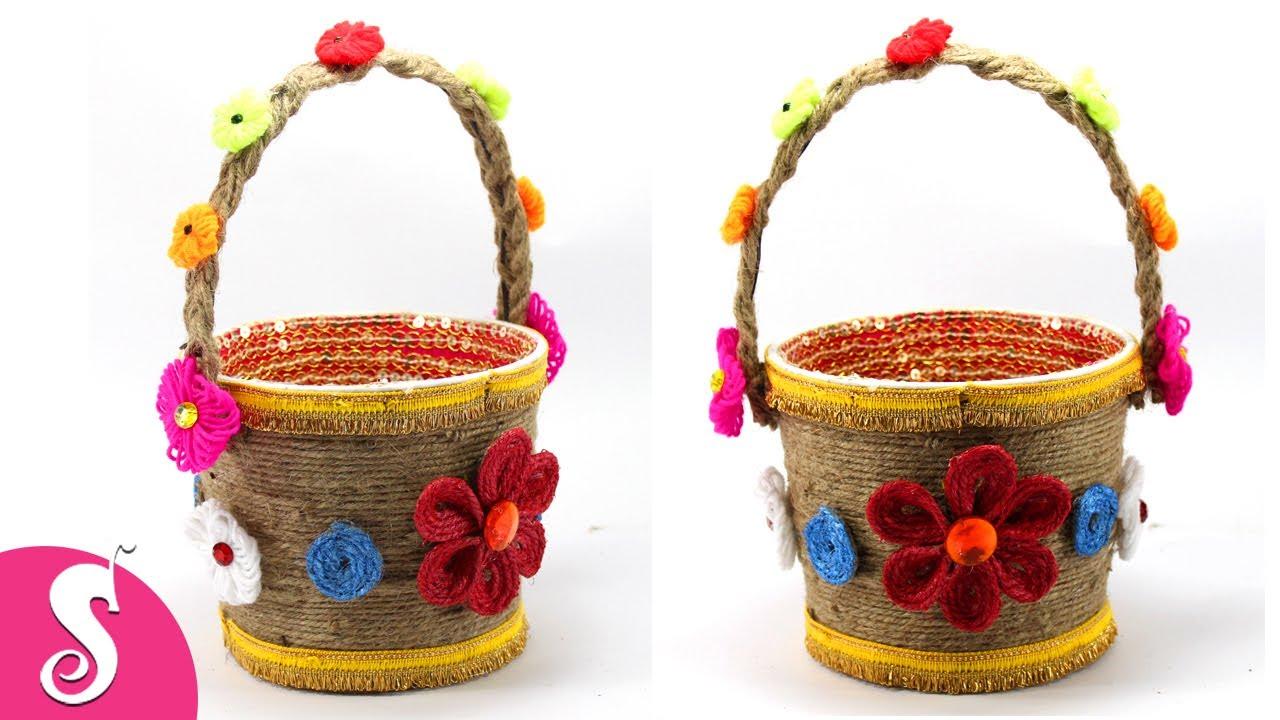 Decorative Jute Gift Bucket Making Idea At Home Jute Craft