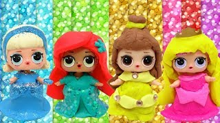 Play Doh DIY LOL Surprise Dolls Barbie Frozen Elsa Anna Princess Fruits Dress Cartoons Toysline